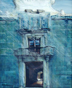 Facades Painting Posters - Blue Church Poster by Beth Dolan