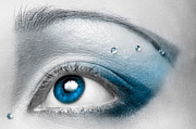 Treatment Metal Prints - Blue Female Eye Macro with Artistic Make-up Metal Print by Oleksiy Maksymenko