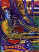 Guitarist Art - Blue Guy with Red Guitar by Russell Pierce