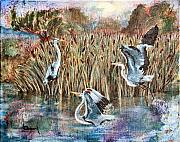 Ann Sokolovich - Blue Herons And Cats