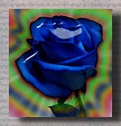Fantasy Glass Art Acrylic Prints - Blue Magic Rose Acrylic Print by Sharri Plaza