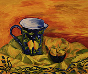 Still Life With Pitcher Art - Blue Pitcher with Lemons by Phyllis  Smith