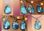 Wire-wrapped Jewelry Originals - Blue Sea Sediment Oceanic Orbicular Jasper Pyrite Pendants Sterling Silver Copper wire wrapped for by Karen Martel