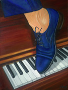 Piano Painting Originals - Blue Suede Shoes by Marlyn Boyd