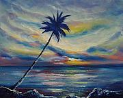 Sunsets Original Paintings - Blue Sunset by Gina De Gorna