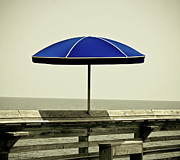 Pier Pyrography Prints - Blue Umbrella  Print by Gib LaStrapes
