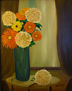 Sherry Haney - Blue Vase Orange Flowers