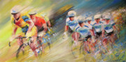 Cyclisme Paintings - Blues United by Miki De Goodaboom