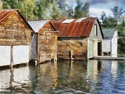Shed Digital Art Prints - Boathouses on the Torch River ll Print by Michelle Calkins