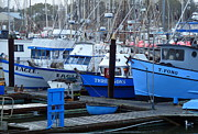 Boats At Dock Photo Posters - Boats Docked in Harbor Poster by Jeff Lowe