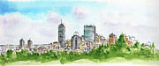 Boston Skyline Paintings - Boston Cityline by James Flynn