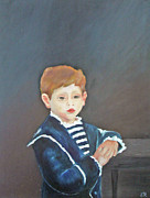 Mediative Framed Prints - Boy In Blue Framed Print by Fatima Neumann
