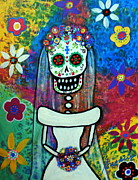 Diego Rivera Framed Prints - Bride Day Of The Dead Framed Print by Pristine Cartera Turkus