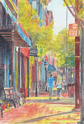 City Scene Drawings - Bright Americana by Diane Bay