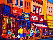 Montreal Streets Painting Originals - Bright Lights On The Main by Carole Spandau