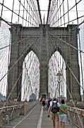 New York City Wandering Framed Prints - brooklyn Bridge Cables Framed Print by Jerry Patterson
