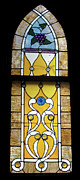 Greeting Card Glass Art Framed Prints - Brown Stained Glass Window Framed Print by Thomas Woolworth