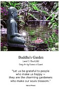 Lotus Blossoms Posters - Buddhas Garden with quote Poster by Laurel D Rund