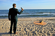 Out Of Context Posters - Businessman on beach with Landline Phone receiver Poster by Sami Sarkis