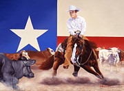 Hall Of Fame Painting Originals - Buster Welch On Peppy San Badger by Howard Dubois