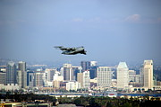 Hyatt Hotel Prints - C-17 Globemaster Over San Diego Print by Jeff Lowe