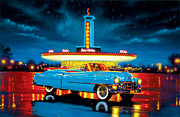 80s Cars Framed Prints - Cadillac Diner Framed Print by MGL Studio - Chris Hiett