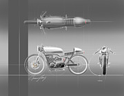 Engine Drawings Posters - Cafe Racer Poster by Jeremy Lacy