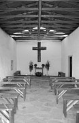 Rustic Framed Prints - Calera Mission Chapel Interior in West Texas Black and White Framed Print by Shawn OBrien