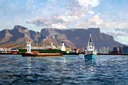 Trawler Painting Posters - Cape Town Harbor Entrance Poster by Roelof Rossouw