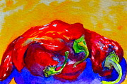 Red Hot Chili Peppers Paintings - Capsaicin Cuddle by Beverley Harper Tinsley