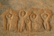 Ramayana Photo Prints - Carved Figures in the Rock Hampi Print by Serena Bowles