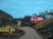 Puerto Rico Paintings - Casitas De Madera by Gloria E Barreto-Rodriguez