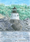 New England Lighthouse Painting Prints - Castle Hill Lighthouse Print by Dominic White