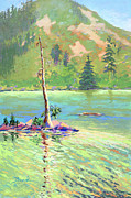 Mountains Pastels Prints - Castle Lake Print by Janet Biondi
