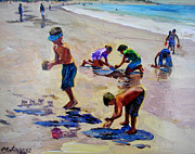 Kids Playing At Beach Prints - Castles in the Sand Print by Michael Jacques