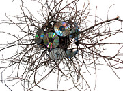 Abstracted Mixed Media Originals - CD Virus by Adam Long
