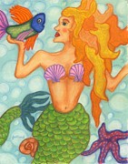 Orange Jewelry Prints - Celeste the Mermaid Print by Norma Gafford