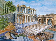 Library Paintings - Celsus Library at Ephesus in Kusadasi Turkey by Bonnie Sue Schwartz