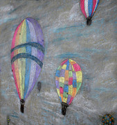 Colorful Photography Drawings Prints - Chalk Drawing of Hot Air Balloons Print by Thomas Woolworth