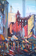 Union Square Painting Prints - Chaos of Union Square Print by Nataliya Gurshman