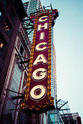 Treatment Metal Prints - Chicago Theatre Marquee Sign Vintage Metal Print by Paul Velgos