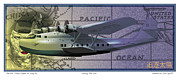 Pan Am Framed Prints - China Clipper Chasing The Sun Framed Print by Kenneth De Tore