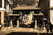 Wingsdomain Art and Photography - Chinatown Gate In San Francisco . sepia...