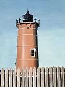 New England Lighthouse Painting Prints - Chocolate Lighthouse Print by Mary Rogers
