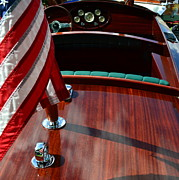 Michelle Calkins - Chris Craft with Flag and Steering Wheel