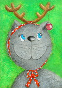 Cool Cats Paintings - Christmas Cat by Sonja Mengkowski