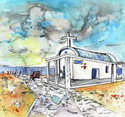 Napa Drawings Prints - Church in Cape Gkreko in Cyprus Print by Miki De Goodaboom