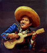 Guitar Player Painting Originals - Cielito Lindo by Otto Werner