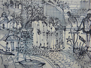 Fine Art Prints Toronto Drawings - City Doodle by Marwan George Khoury