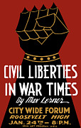United States Government Mixed Media Framed Prints - Civil Liberties In War Times Framed Print by War Is Hell Store